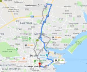Dublin lotnisko mapa