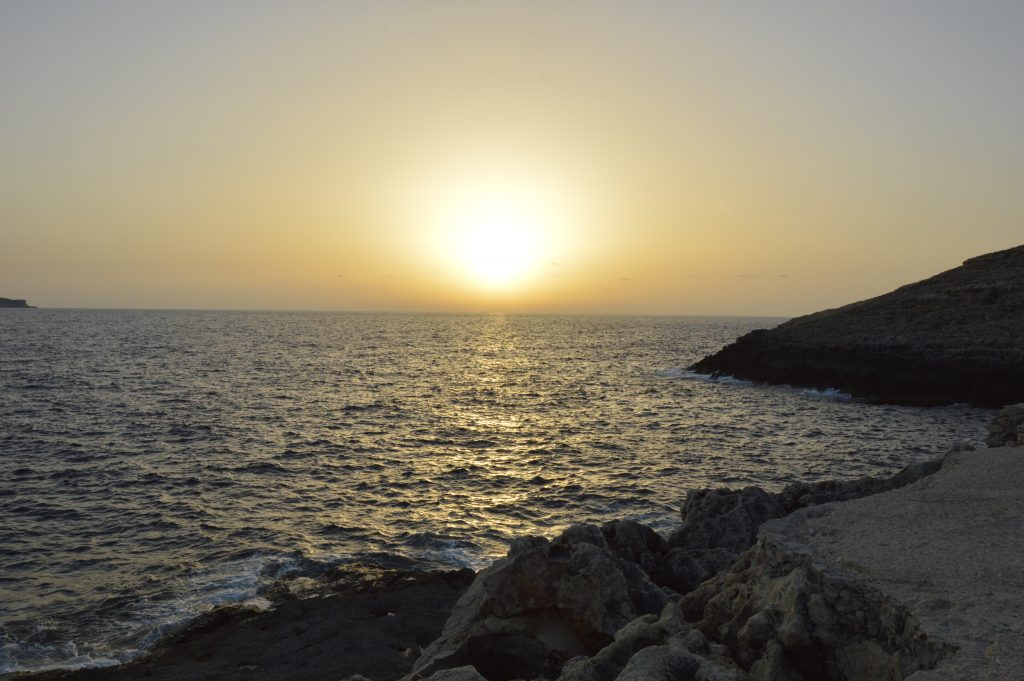 Blue Grotto zachód słońca